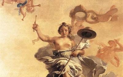 """Gérard de Lairesse, """"Prekybos laisvės alegorija"""", 1672 m., Taikos rūmų skliauto piešinys, Haga, Nyderlandai."""