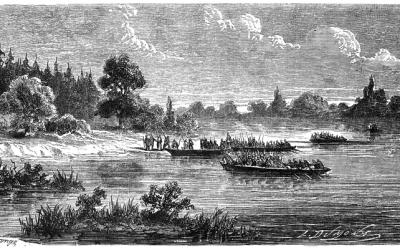 Lenkų savanoriai perplaukia Sanos upę dabartinės Lenkijos teritorijoje, 1863 m.