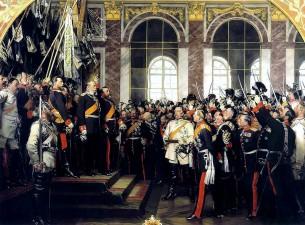 """Antonas von Werneris, """"Vokietijos imperijos paskelbimas Versalyje"""", 1885 m."""