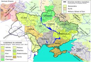Rusijos imperijos gubernijos ir dabartinė Ukrainos teritorija.