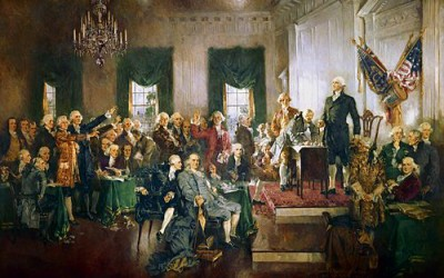"Howard Chandler Christy, ""Scene at the Signing of the Constitution of the United States"", 1940 m."