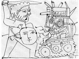 """Civilizacijai ir apskritai civilizuotumui plėtotis būtinas vienoks ar kitoks dominavimas. Pablo Picasso """"Karas"""" (fragmentas). 1951"""