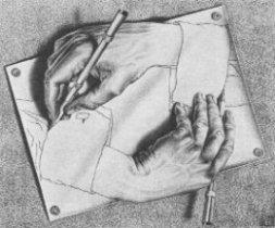 """Nes kaimynas – ne svetimas. Tačiau ir ne savas. M. C. Escher """"Piešiančios rankos"""""""
