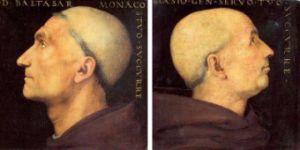 """Pietro Perugino """"B. Vallombrosano portretas"""". 1500 ir Pietro Perugino """"Don Biago Milanesi portretas"""". 1500"""