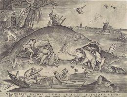 """Pieter Bruegel the Elder """"Didelė žuvis ryja mažas žuvis"""". 1556"""