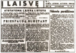 "1941 m.  ""Į Laisvę"""