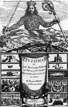 """Vakarų Europos politiniame mąstyme valstybė suvokiama kaip korporacinis kūnas, kurio galva – valdovas. 1651 metų leidimo T. Hobbes """"Leviatanas"""" titulinis puslapis"""